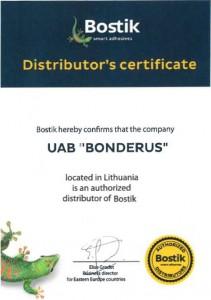 Bostik distributor's certificate